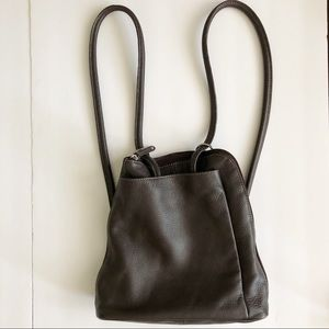 Clarks Brown Leather Convertible Backpack Purse